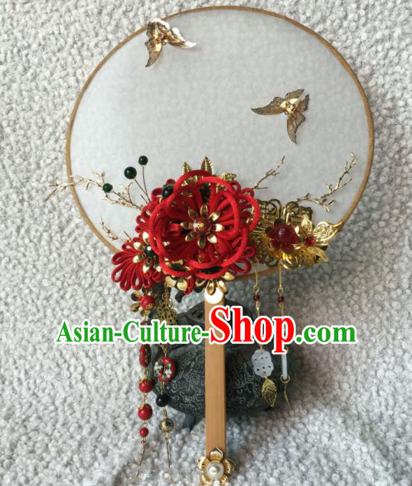 Chinese Handmade Bride Classical Red Velvet Flower Palace Fans Wedding Accessories Round Fan for Women