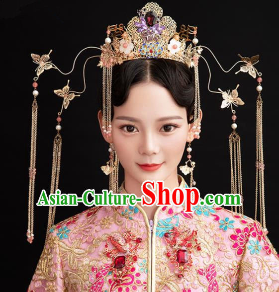 Chinese Ancient Queen Tassel Phoenix Coronet Hairpins Traditional Palace Hair Accessories Headdress for Women
