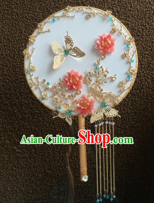 Chinese Handmade Bride Classical Butterfly Palace Fans Wedding Accessories Round Fan for Women