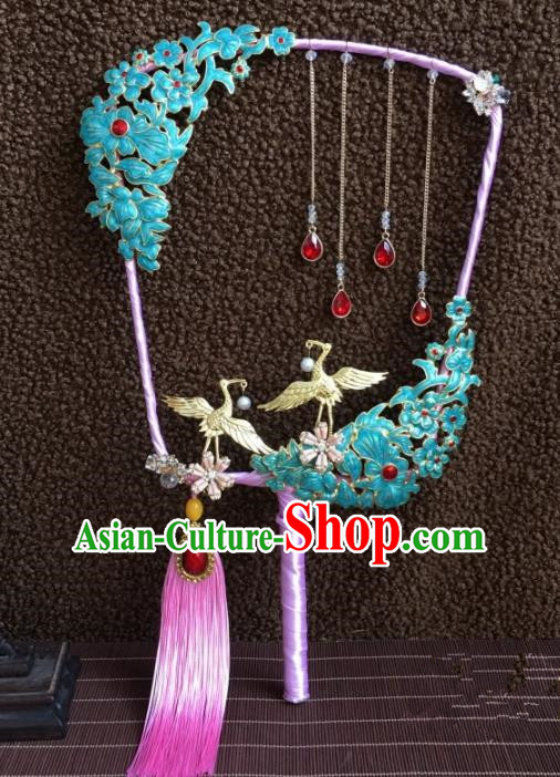 Chinese Handmade Bride Classical Cranes Cloisonne Palace Fans Wedding Accessories Round Fan for Women