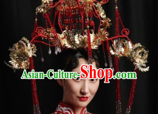 Top Grade Chinese Ancient Queen Hairpins Red Beads Tassel Phoenix Coronet Traditional Hair Accessories Headdress for Women