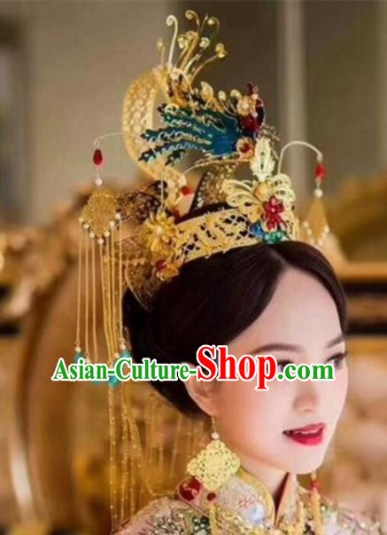 Top Grade Chinese Ancient Bride Wedding Blueing Phoenix Coronet Hairpins Traditional Hair Accessories Headdress for Women