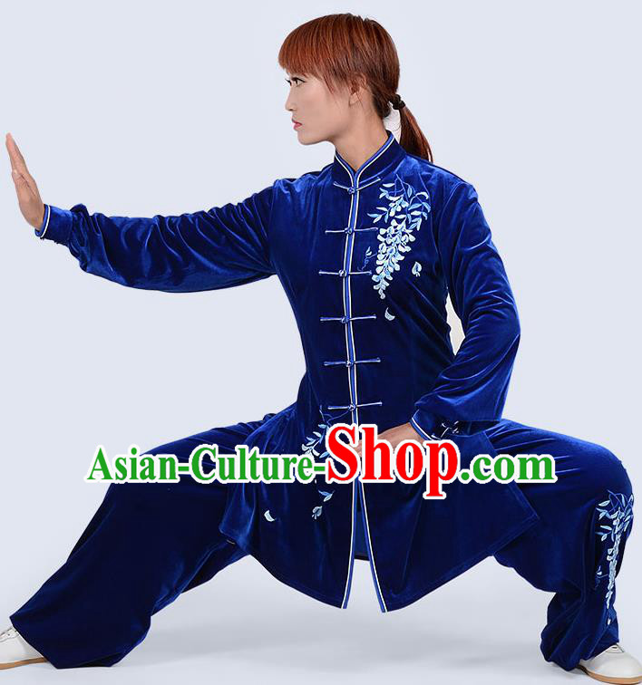 Chinese Traditional Kung Fu Embroidered Royalblue Pleuche Costume Martial Arts Tai Ji Competition Clothing for Women