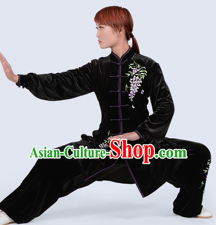 Chinese Traditional Kung Fu Embroidered Black Pleuche Costume Martial Arts Tai Ji Competition Clothing for Women