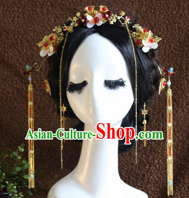 Top Grade Chinese Ancient Bride Wedding Tassel Hair Clasp Hairpins Traditional Hair Accessories Headdress for Women