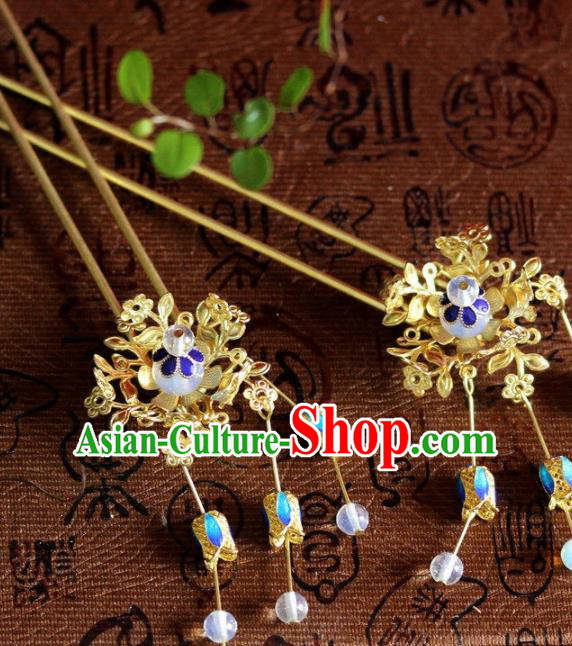 Top Grade Chinese Ancient Bride Wedding Tassel Golden Hairpins Traditional Hair Accessories Headdress for Women