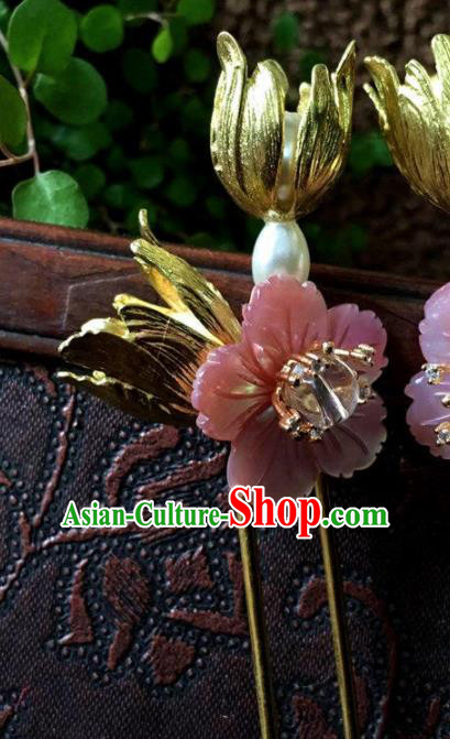 Top Grade Chinese Ancient Bride Wedding Pink Shell Flowers Hairpins Traditional Hair Accessories Headdress for Women