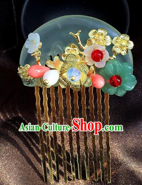 Handmade Chinese Ancient Jade Hair Combs Traditional Hair Accessories Headdress for Women