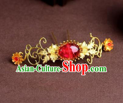 Handmade Chinese Ancient Princess Red Hairpins Traditional Hair Accessories Headdress for Women