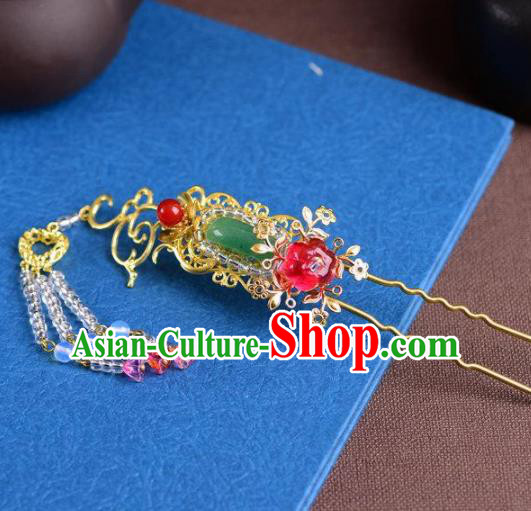 Handmade Chinese Ancient Princess Tassel Jade Hairpins Traditional Hair Accessories Headdress for Women