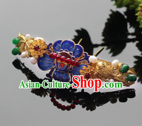 Handmade Chinese Ancient Princess Goldfish Lotus Hairpins Traditional Hair Accessories Headdress for Women