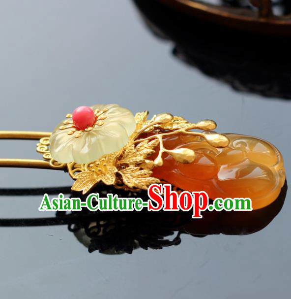 Handmade Chinese Ancient Princess Yellow Chalcedony Hairpins Traditional Hair Accessories Headdress for Women