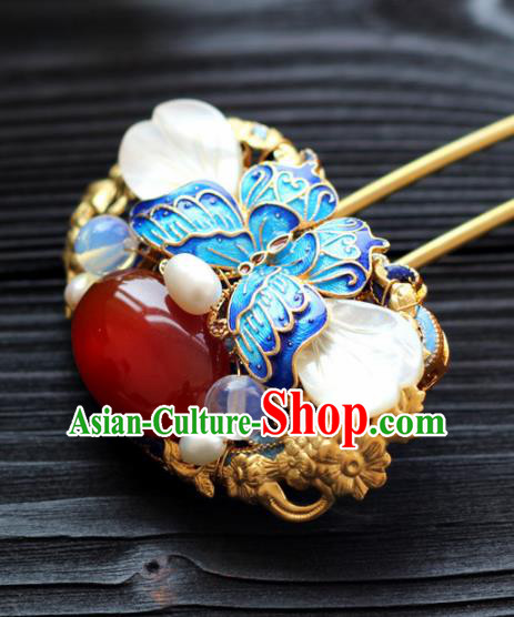 Handmade Chinese Ancient Princess Agate Blueing Hairpins Traditional Hair Accessories Headdress for Women