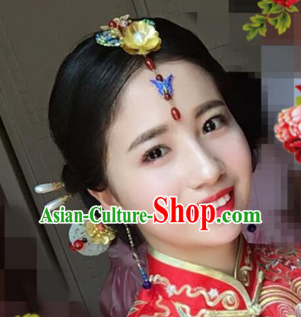 Handmade Chinese Ancient Wedding Jade Hairpins Traditional Hair Accessories Headdress for Women