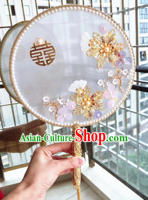 Chinese Handmade Bride Pearls Palace Fans Wedding Accessories Classical Round Fan for Women