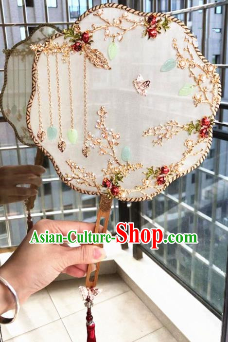 Chinese Handmade Bride Pomegranate Palace Fans Wedding Accessories Classical Round Fan for Women