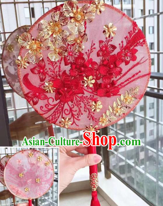 Chinese Handmade Bride Red Lace Flowers Palace Fans Wedding Accessories Classical Round Fan for Women