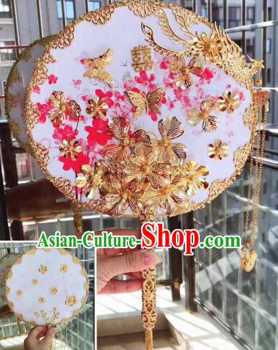 Chinese Handmade Bride Golden Flowers Palace Fans Wedding Accessories Classical Round Fan for Women
