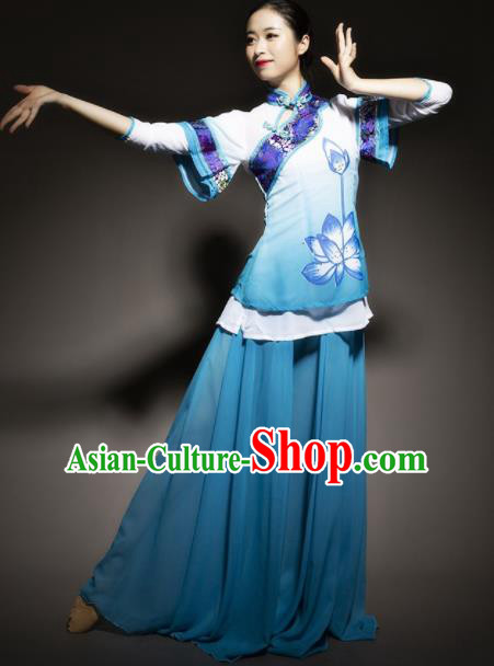Chinese Traditional Classical Dance Costume Lotus Dance Blue Dress for Women