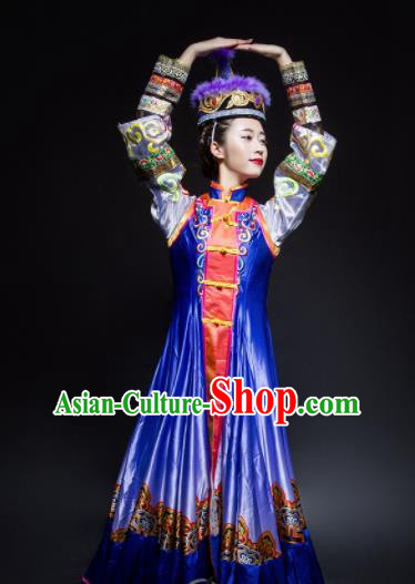 Chinese Traditional Mongol Nationality Dance Costume Mongolian Ethnic Dance Embroidery Blue Dress for Women