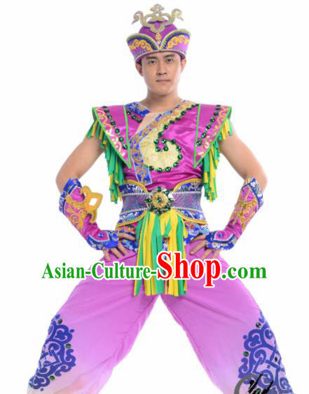 Chinese Traditional Mongol Nationality Costume Mongolian Ethnic Dance Embroidery Purple Clothing for Men