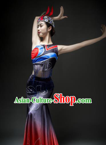 Chinese Traditional Dai Nationality Costume Ethnic Peacock Dance Dress for Women