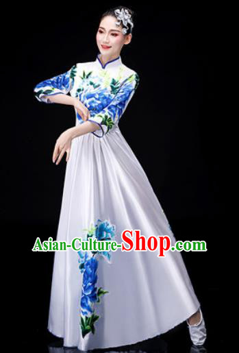 Chinese Traditional Classical Dance Costume Umbrella Dance Printing Peony White Dress for Women