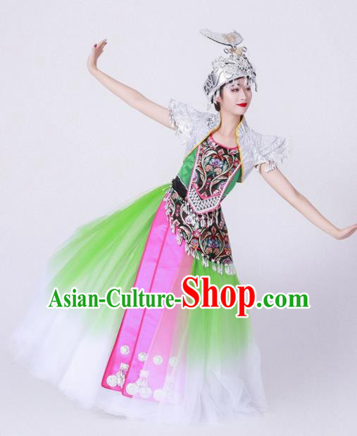 Chinese Traditional Miao Nationality Costume Hmong Ethnic Folk Dance Green Dress for Women