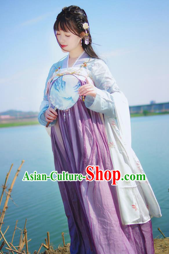 Traditional Chinese Tang Dynasty Young Lady Historical Costume Ancient Embroidered Hanfu Dress for Women