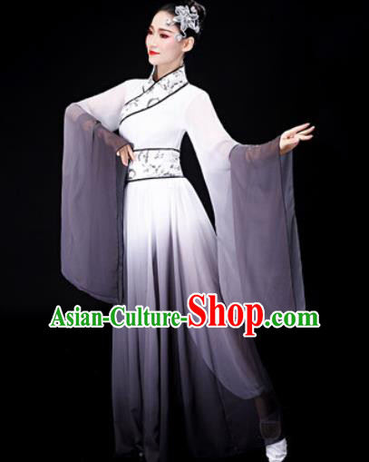 Chinese Traditional Classical Dance Grey Dress Umbrella Dance Stage Performance Costume for Women