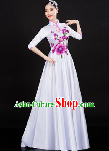 Chinese Traditional Classical Dance White Dress Umbrella Dance Stage Performance Costume for Women