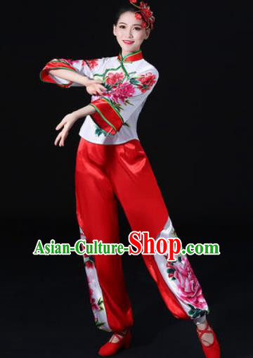 Chinese Traditional Folk Dance Printing Peony Clothing Group Yangko Dance Stage Performance Costume for Women