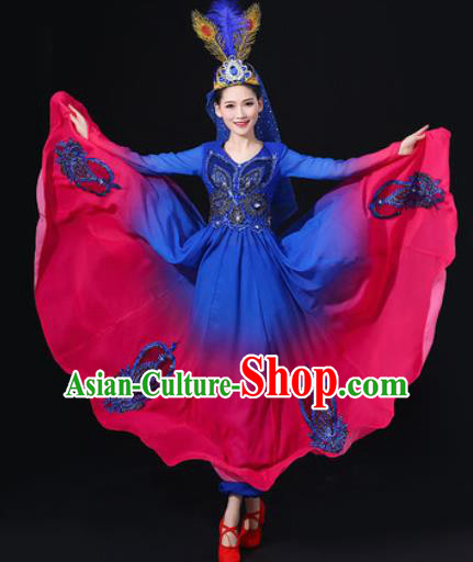 Traditional Chinese Uyghur Nationality Dance Blue Dress Uigurian Folk Dance Ethnic Costume for Women