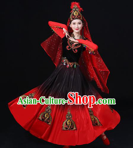 Traditional Chinese Uyghur Nationality Red Dress Uigurian Folk Dance Ethnic Costume for Women