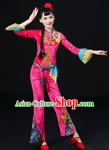 Chinese Traditional Folk Dance Fan Dance Pink Clothing Group Yangko Dance Stage Performance Costume for Women