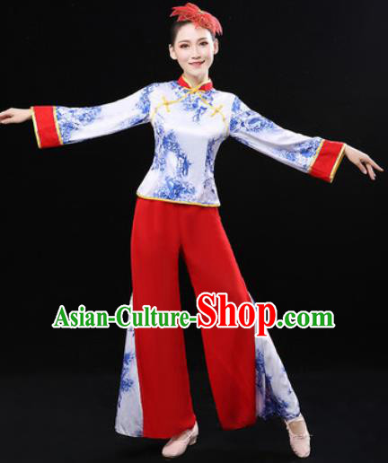 Chinese Traditional Fan Dance Clothing Folk Dance Group Yangko Dance Stage Performance Costume for Women