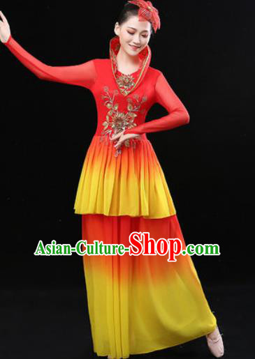 Chinese Traditional Classical Dance Red Dress Umbrella Dance Stage Performance Costume for Women