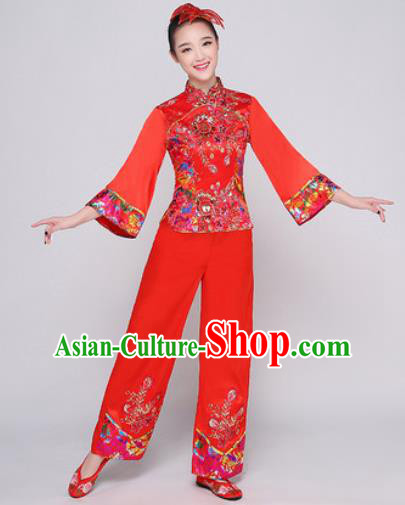 Chinese Traditional Stage Performance Fan Dance Clothing Folk Dance Group Yangko Dance Red Costume for Women