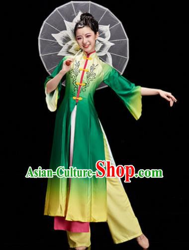 Chinese Traditional Classical Dance Umbrella Dance Green Dress Stage Performance Costume for Women