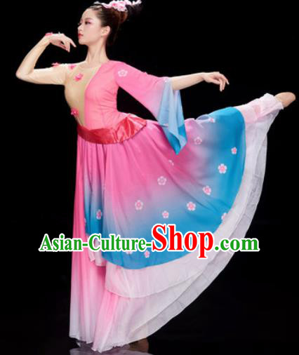 Chinese Traditional Umbrella Dance Pink Dress Classical Dance Stage Performance Costume for Women