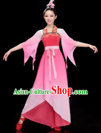 Chinese Traditional Umbrella Dance Rosy Dress Classical Dance Stage Performance Costume for Women