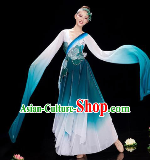 Chinese Traditional Umbrella Dance Peacock Blue Dress Classical Dance Stage Performance Costume for Women