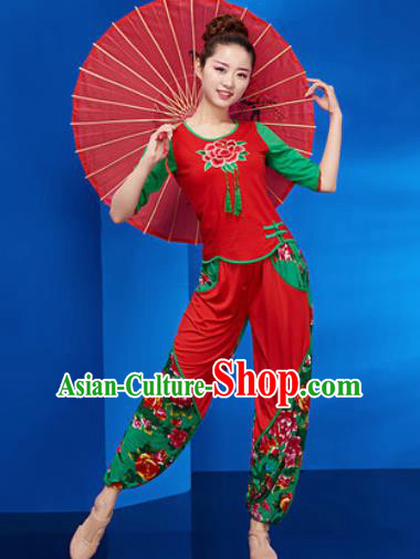 Traditional Chinese Folk Dance Stage Show Clothing Group Yangko Dance Red Costume for Women