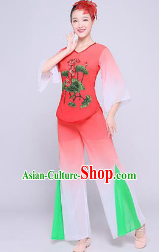 Chinese Traditional Folk Dance Fan Dance Watermelon Red Clothing Group Yangko Dance Costume for Women