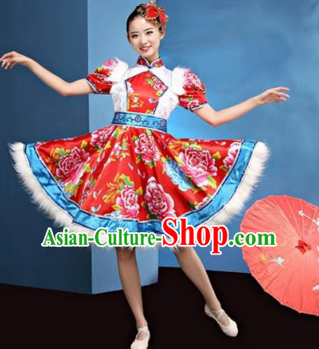 Traditional Chinese Folk Dance Yangko Stage Show Clothing Group Fan Dance Red Costume for Women
