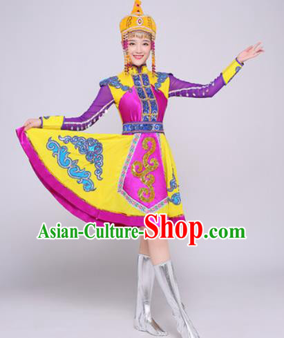 Traditional Chinese Mongol Nationality Folk Dance Purple Dress Mongolian National Ethnic Costume for Women