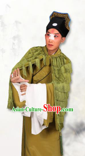 Chinese Traditional Peking Opera Green Coir Raincoat Classical Beijing Opera Costume for Men