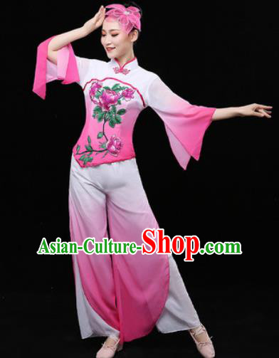 Chinese Traditional Fan Dance Pink Clothing Folk Dance Group Yangko Dance Stage Performance Costume for Women