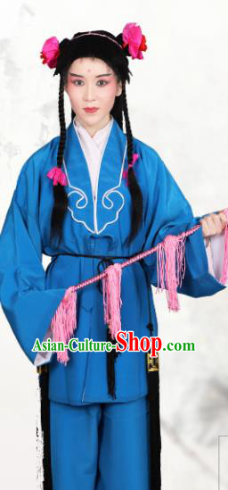 Chinese Traditional Peking Opera Clown Blue Clothing Classical Beijing Opera Attendants Costume for Men