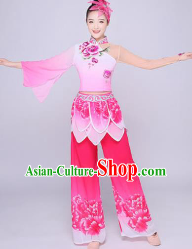 Chinese Traditional Folk Dance Lotus Dance Pink Clothing Group Yangko Dance Costume for Women